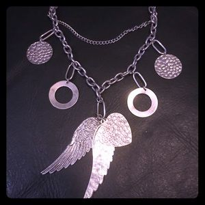 Angel Wings and Chains Statement Necklace